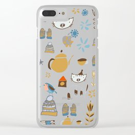 hygge cat and bird blue Clear iPhone Case