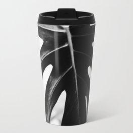black and white monstera Travel Mug