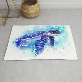 Blue Hawaiian Sea Turtle, Turquoise Blue Cute Animal Sea world Art Rug