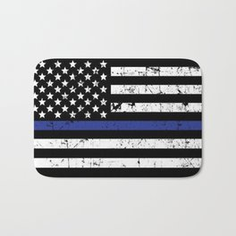 Police Thin Blue Line Flag Bath Mat