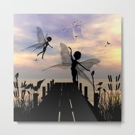 Cute fairy dancing on a jetty Metal Print