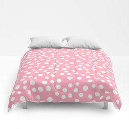 Bright pink and white doodle dots Comforters