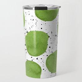 Modern green watercolor polka dots black brushstrokes greenery color of the year pattern Travel Mug