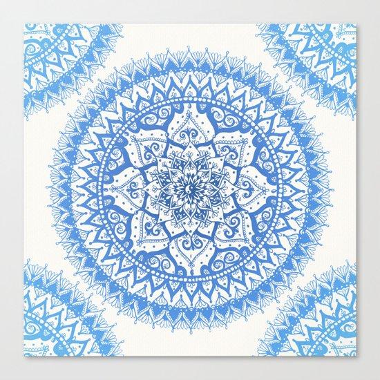 Yin Yang Mandala in Soft Blues Canvas Print