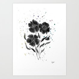 Midnight anemones Art Print