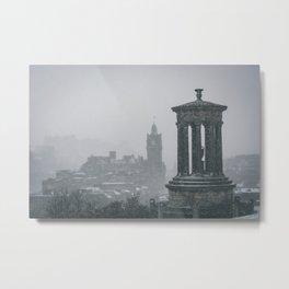 Blizzard over Edinburgh city Metal Print