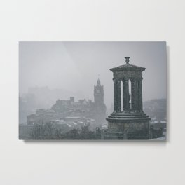 Blizzard over Edinburgh city Metal Print