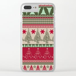 Pine Tree Ugly Sweater Clear iPhone Case