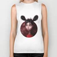 bjork Biker Tanks featuring Caricature for a Bjork by Alexander Novoseltsev