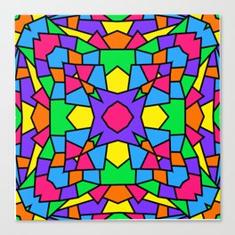 Rainbow Mosaic Symmetrical Kaleidoscope 2 Canvas Print