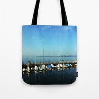 boats Tote Bags featuring BOATS by Rebecca Jackson
