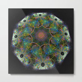 Fractal Flower in Green Metal Print