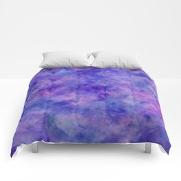 Purple Pink and Blue Bright Marble Watercolor Texture Comforters