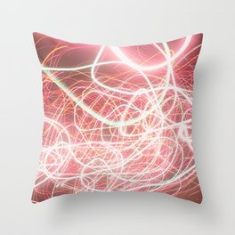 Neon Pink Light Streaks Throw Pillow