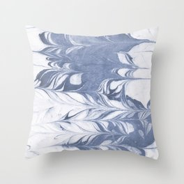 Setsuko - spilled ink marble abstract watercolor painting marbling japanese wave pattern Throw Pillow