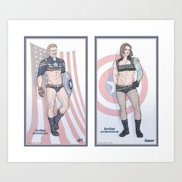 Steve Rogers and Bucky Barnes Calendar Boys Art Print
