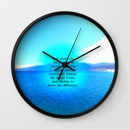 Serenity Prayer With Blue Ocean and Amazing Sky Wall Clock