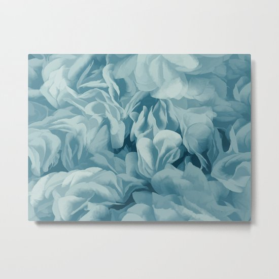 Soft Baby Blue Petal Ruffles Abstract Metal Print