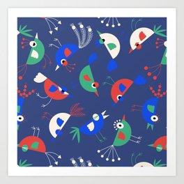 Geometric Birdies Art Print