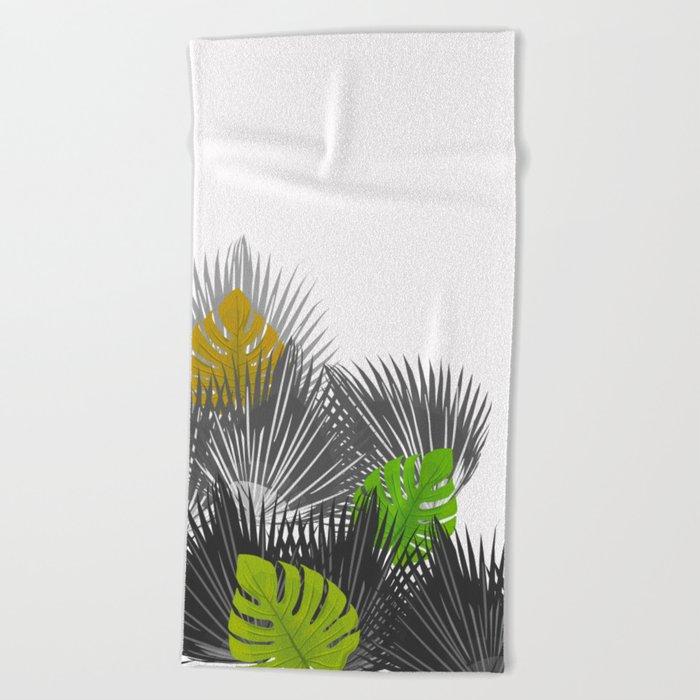 Tropical leaves 04 Beach Towel