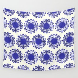 vintage flowers blue  Wall Tapestry