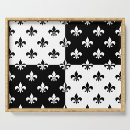 Black & white royal lilies (chessboard) Serving Tray