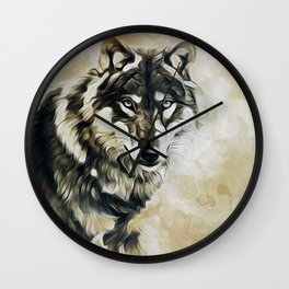 Timber Wolf Wall Clock