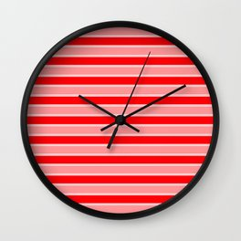 Large Horizontal Christmas Holiday Red Velvet and White Bed Stripe Wall Clock