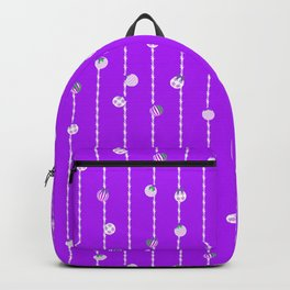 Vibrant Christmas Baubles and Tinsel in Pastel Purple Backpack
