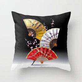 Japanese Cherry Fans Throw Pillow