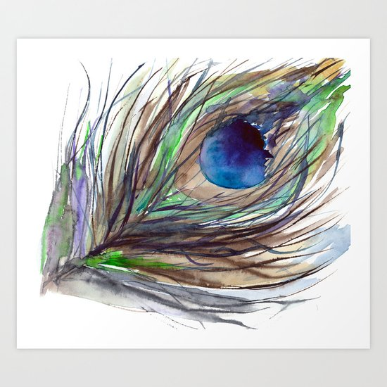 Peacock piece    watercolor Art Print