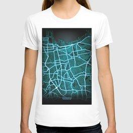 Jakarta, Indonesia, Blue, White, Neon, Glow, City, Map T-shirt