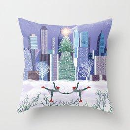 Christmas Park Throw Pillow