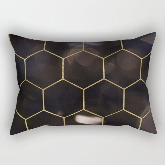 Dark bokeh gold hexagons Rectangular Pillow