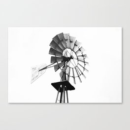 Windmill Black and White Canvas Print
