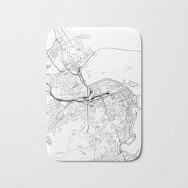 Rio De Janeiro White Map Bath Mat