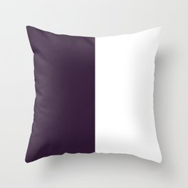 White and Dark Purple Vertical Halves Throw Pillow
