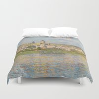 monet Duvet Covers featuring Vetheuil by Claude Monet by Palazzo Art Gallery