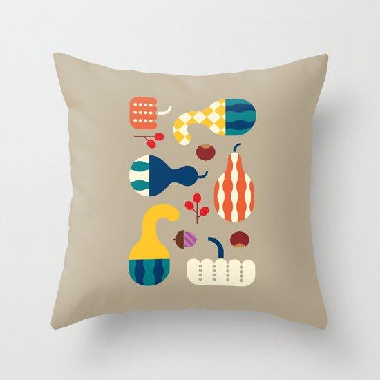 Autumn Gourds Gold Throw Pillow