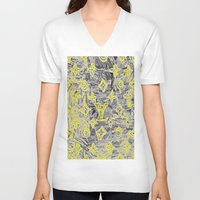 lv V-neck T-shirts featuring LV NEONIZED by JANUARY FROST