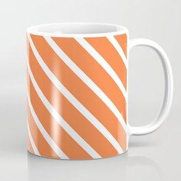 Peach Orange Diagonal Stripes Coffee Mug