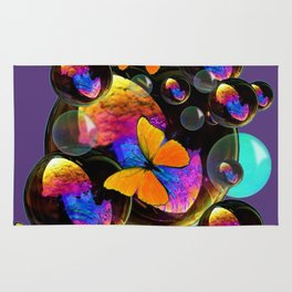 COLORFUL FUN  BUBBLES & YELLOW BUTTERFLIES PURPLE FANTASY Rug