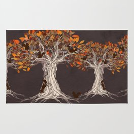 Little Visitors - Autumn tree illustration with squirrels Rug