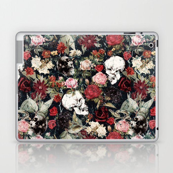 Vintage Floral With Skulls Laptop & iPad Skin