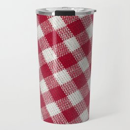 Red classic checkered tablecloth texture Travel Mug