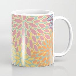 Abstract Flower Pattern, Orange, Yellow, Teal, Pink Coffee Mug