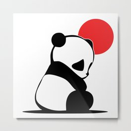 Shy Panda in the Red Sun Metal Print