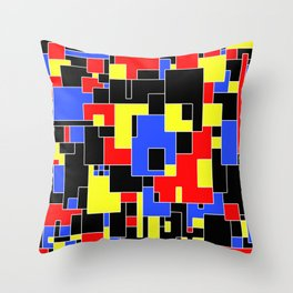 Primary Plans - Abstract, geometric map in primary colours Throw Pillow