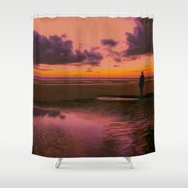 Another place at sunset Shower Curtain