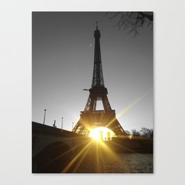 Eiffel tower Paris black and white with color GOLD Canvas Print